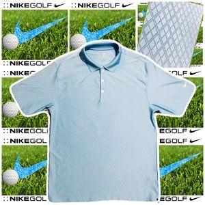NIKE GOLF Men's Medium Blue Diamond Pattern Polo